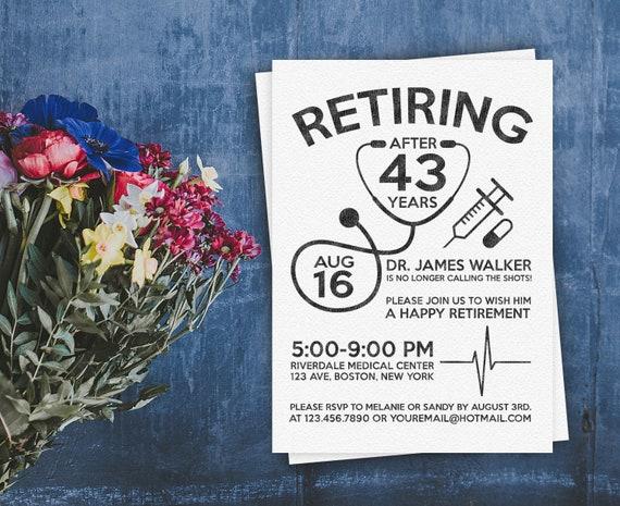 doctor retirement invite personalized printable doctor nurse