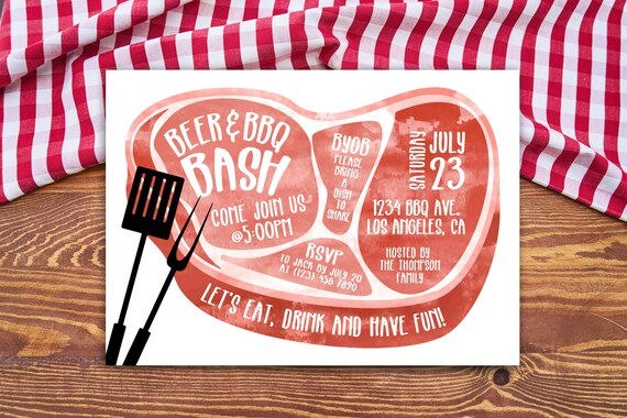 meat bbq invitation personalized printable bbq beer bbq fest