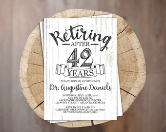Rustic Retirement Invite // Personalized Printable White Wood Retirement Invitation // Retiring Invite // Retiring Invitation
