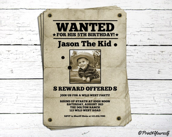 wanted invite      personalized printable vintage wanted