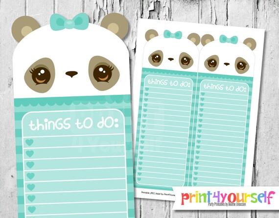 mint panda to do list to do list kawaii to do list to do etsy