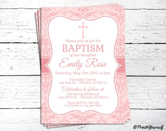 christening invite personalized printable pink baby girl baptism