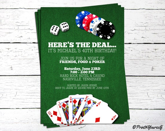 Casino Poker Invite Personalized Printable Birthday Invitation Las Vegas Cards Dice Chips