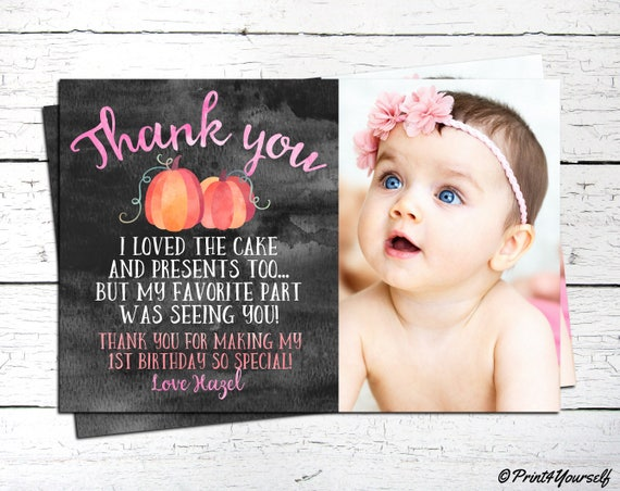 Pumpkin Thank You Card Personalized Printable 1st Birthday Note