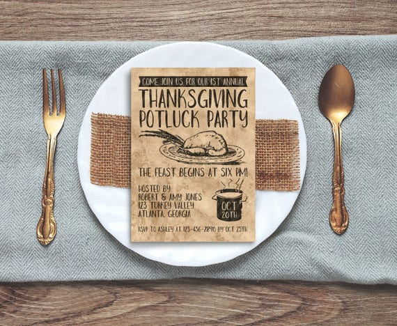 thanksgiving invite personalized printable rustic thanksgiving