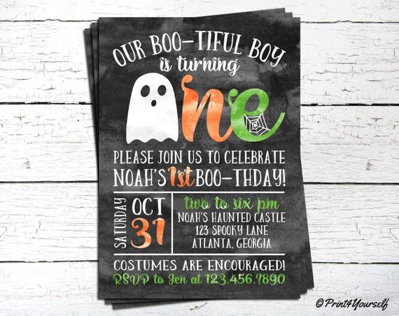 1st Birthday Halloween Invitation Personalized Printable Boo Tiful Ghost