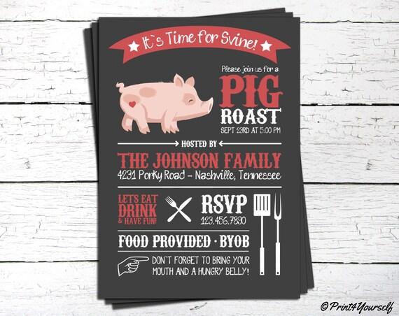 Pig Roast Invite Personalized Printable Backyard Bbq Pig Etsy
