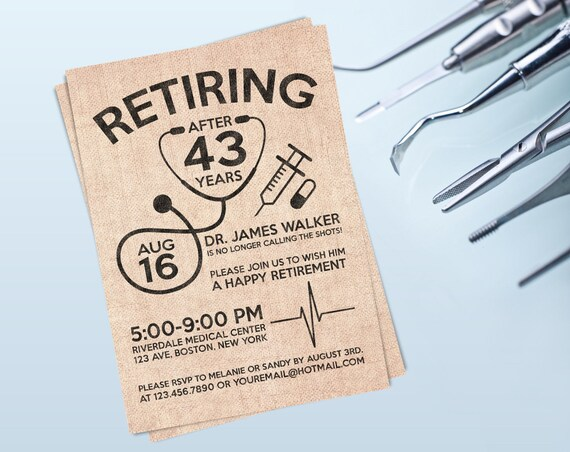 doctor retirement invite personalized printable etsy