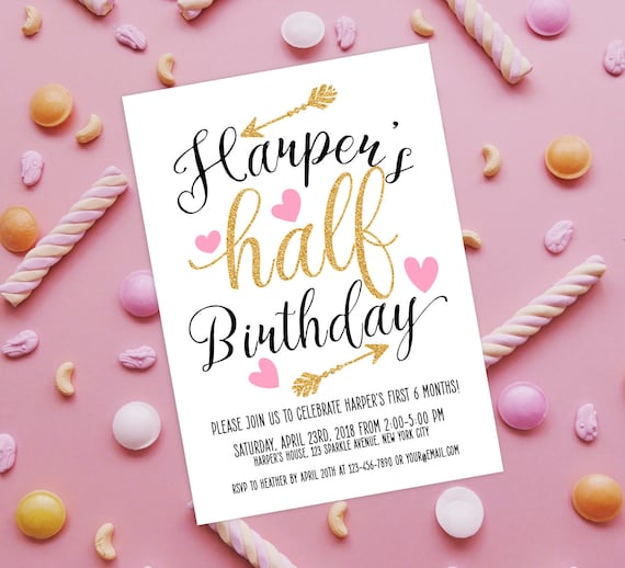 Half Birthday Invitation 1 2