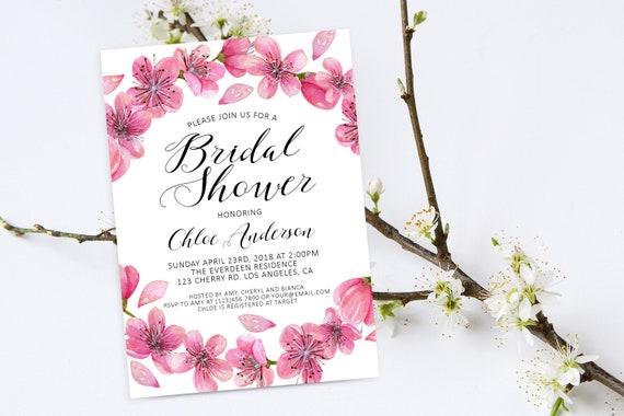 db89e054cc49 Cherry Blossoms Bridal Shower Invitation. Bridal Invitation.