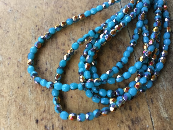 Patina Teal Czech Fire Polished 3mm round faceted glass beads