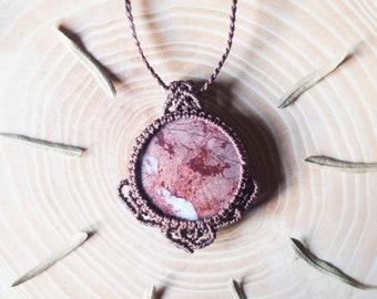Rhodochrosite necklace, rhodochrosite macrame necklace, rhodochrosite micromacrame necklace, rhodochrosite macrame unisex necklace