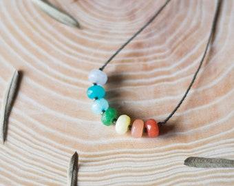Macrame chakras necklace, chakra necklace, healing gemstones necklace, yoga necklace, chakra macrame necklace, meditation necklace
