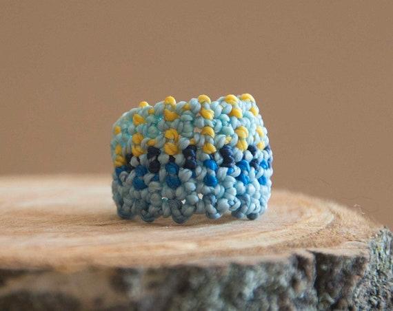 Blue boho art ring