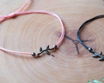 Friendship macrame bracelet for kids, friendship nature macrame bracelet, friendship leaves natural micro macrame antique brass bracelet