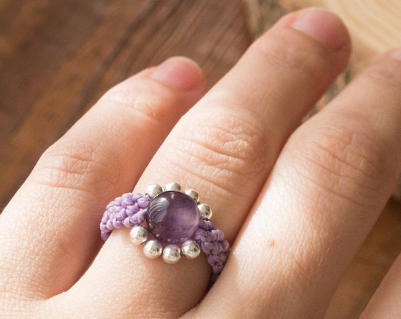 Purple Silver Amethyst Ring