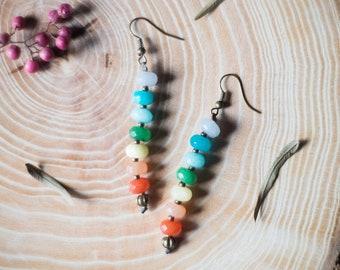 Chakra boho earrings, healing chakra earrings, boho yoga earrings, healing gemstones earrings, chakra boho macrame meditation earrings