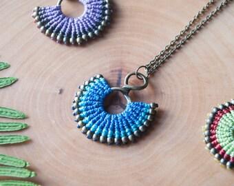 Macrame gypsy necklace, micro macrame gypsy style necklace, macrame gypsy jewelry, macrame small pendant for women, macrame gift for women