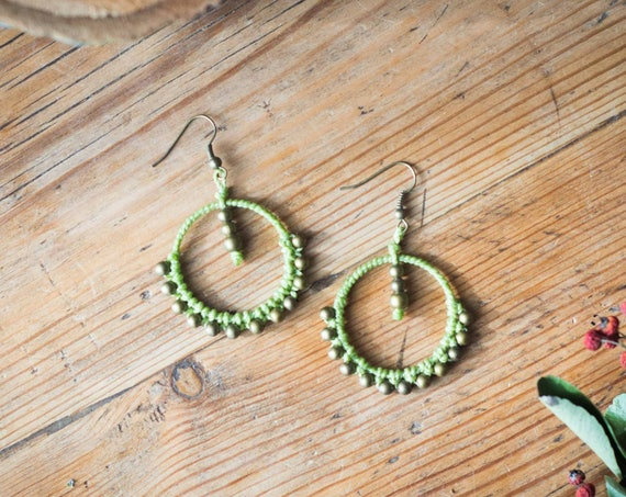 Green gipsy earrings