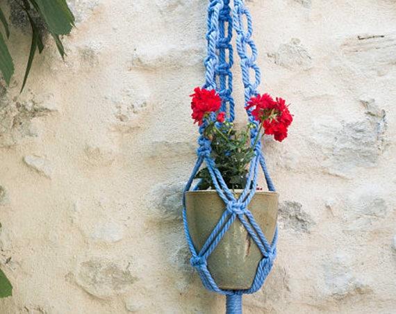 Blue plant hanger