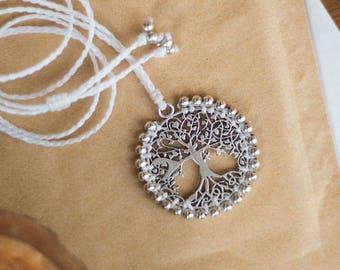 Macrame tree of life necklace, white macrame tree of life necklace, silver bohemian tree of life necklace, white tree of life boho necklace