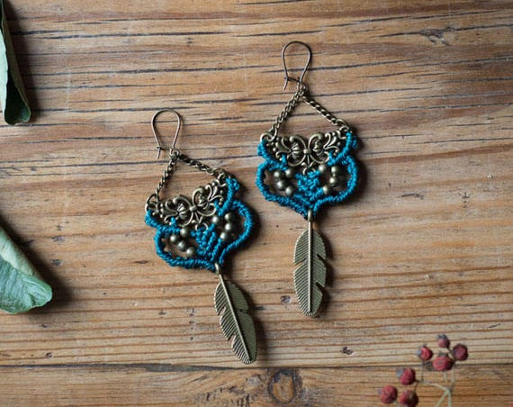Autumn blue earrings