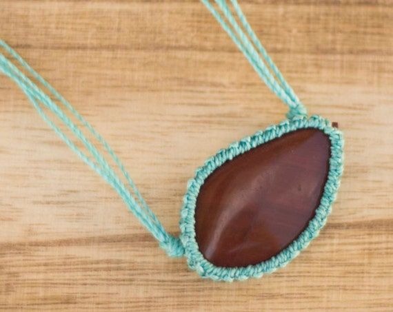 Ocean Jasper macrame necklace