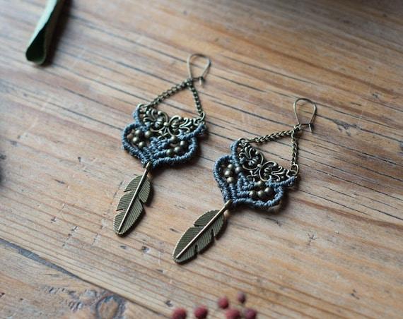 Autumn grey earrings