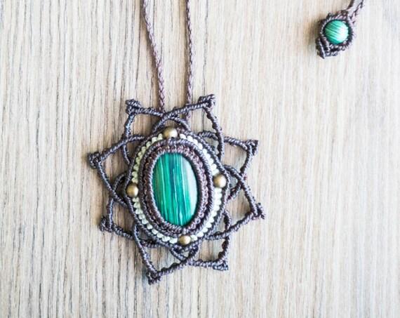 Mandala malachite necklace