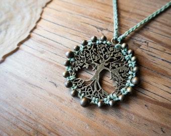 Macrame tree of life necklace, green macrame tree of life necklace, brass bohemian tree of life necklace, brass tree of life boho necklace