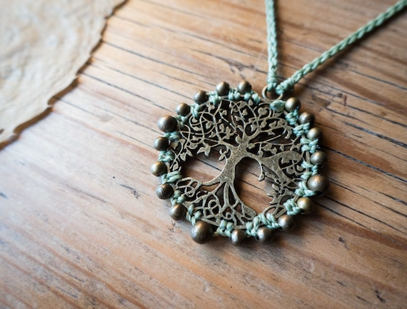 Brass tree of life necklace