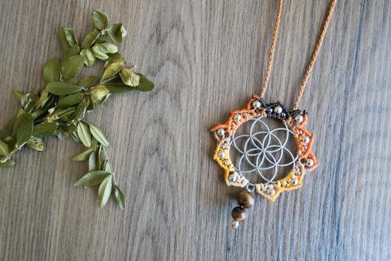 Macrame Svadhisthana seed of life necklace