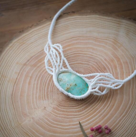 Chrysoprase bride boho necklace
