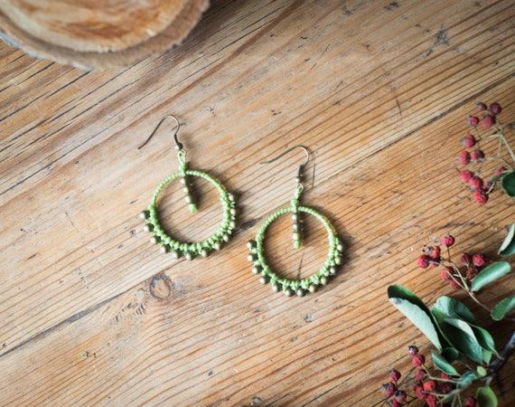 Green gipsy earrings