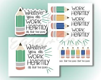 Work Heartily Gift Set - Note Card, Vinyl Sticker, Sticker Sheet