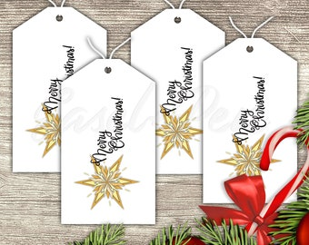Christmas Gift Tags, Set of 4 - Festive Hand Lettered Labels for Presents