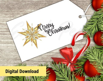 Printable Gift Tags - 8 Hand Lettered Christmas Labels for Presents