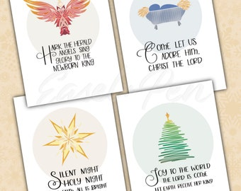 Christmas Carol Note Cards - Set of 4 - A2 size with envelope