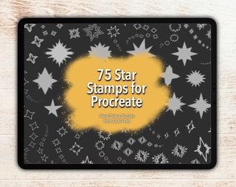 75 Star Stamps for Procreate - Hand Illustrated Lettering Brushset