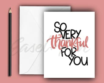 Thankful Note Card - A2 size, blank inside with envelope