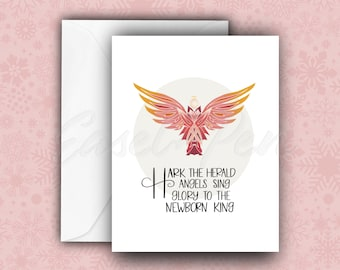 Hark the Herald Angels Card - Christmas Carol Note Cards - A2 size with envelope