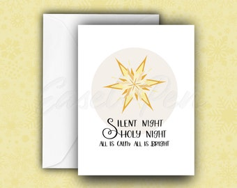 Silent Night Card - Christmas Carol Note Cards - A2 size with envelope