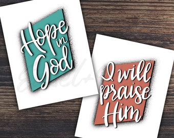 Hope in God / Praise Him Note Card Set - Psalm 42:11 - A2 size, blank inside with envelope