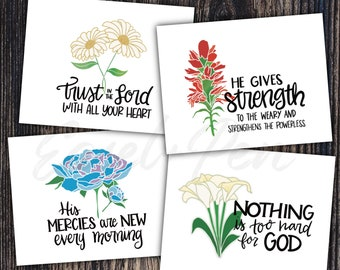 Set of 4 Floral Encouragement Note Cards - A2 size, blank inside with envelope