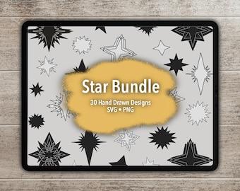 Hand Drawn Star SVG Bundle - 30 Images for Cricut, Silhouette, Graphic Design