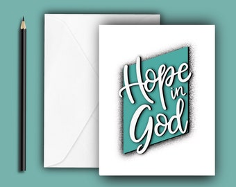 Hope in God! Encouragement Note Cards - Psalm 42:11 - A2 size, blank inside with envelope