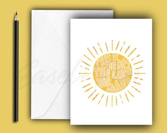 This is the Day! Encouragement Note Card - Psalm 118:24 - A2 size, blank inside with envelope