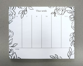 Weekly Planner Notepad / This Week / Week at a Glance / Notepad / Planner / Daily Planner / Organized / Organizational Tools / New Years
