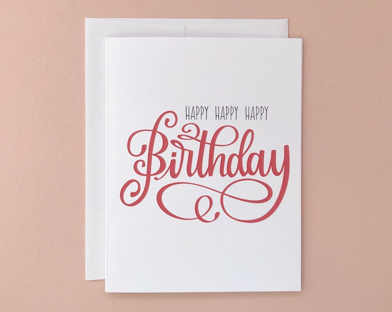 Happy Birthday Card Hand Lettering Calligraphy