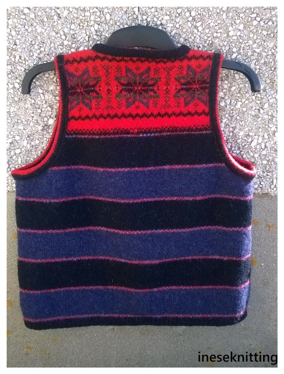 Shetland made from Knitted in Shetland Hand real in vest made top Shetland Sleeveless short Made wool gqHAX